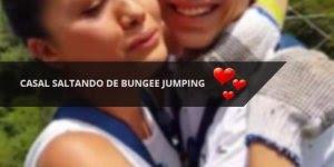 Casal saltando de Bungee jumping, antes ele diz: Saltemos juntos, princesa!