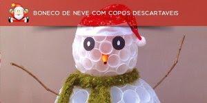 Como fazer um boneco de neve com copos descartáveis? Muito fácil!