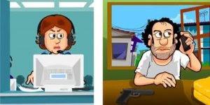 Bandido ligando na telemarketing, uma charge muito engraçada kkk!