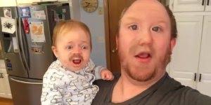 Pai troca de rosto com o filho para gravar video cantando!