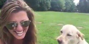 Cachorro quase arranca boca da mulher, confira! Só que não, kkk!!!