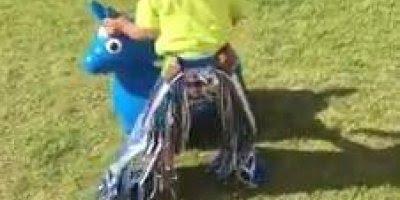 Criança Cowboy montando em touro bravo no quintal de casa!