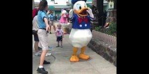 Crianças conhecendo o Pato Donald, olha só que amor gente!!!
