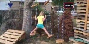 Pai faz um circuito de obstáculos no quintal para sua pequena guerreira!
