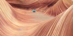 Uma onda de arenito, esse lugar tem aproximadamente 190 milhões de anos!