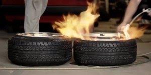 Enchendo pneus com spray e fogo, uma técnica muito interessante!