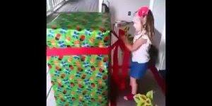 Menina de 3 anos abrindo presente de aniversário, emocionante!