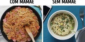 Veja só a diferença de quando você tem a mamãe, e quando você não tem!!!