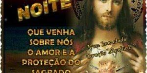 Mensagem de Boa noite protegida pelo Sagrado Coração de Jesus!