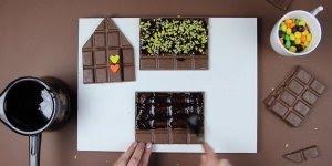 Ideias de chocolates para pascoa, veja que linda esta casinha de chocolate!