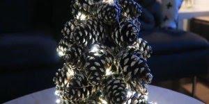Mini árvore de natal com pinha no microonodas, super fácil de fazer!