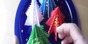 Tutorial de mini arvores de Natal de papel para decorar mesas!!!