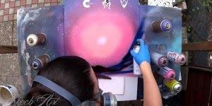 Arte de de pintar quadros com spray, simplesmente maravilhoso!!!