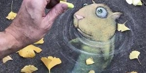Arte de desenhar em 3D usando a rua e objetos que constituem nela!!!