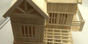 Arte de fazer uma casa com palitos de madeira, olha só que perfeição!!!
