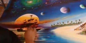 Arte de pintar quadros com tinta spray, simplesmente maravilhoso!!!