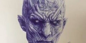 Artista desenha o Rei da Noite de Game of Thrones só olhando para foto!!!