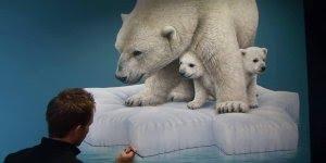 Artista pinta ursos polares, olha só a riqueza de detalhes desta obra de arte!!!