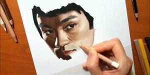 Desenho da imagem de Bruce Lee, um lindo e perfeito trabalho, confira!
