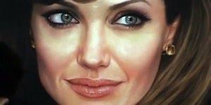 Desenho de Angelina Jolies pintado a mão, simplesmente lindo!!!