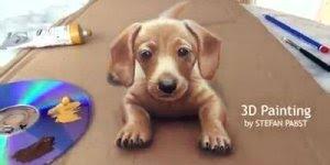 Desenho de cachorro 3D em papelão, confira que maravilha de obra de arte!