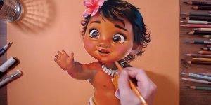 Desenho de menina feito apenas com lápis de cor, ficou lindo!