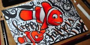 Desenho de Nemo e seu pai Marlin, simplesmente perfeito confira!!!