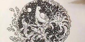 Desenho de pássaro na noite incrível, utilizando apenas caneta preta!
