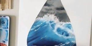 Desenho de tempestade em alto mar simplesmente fantástico!!!
