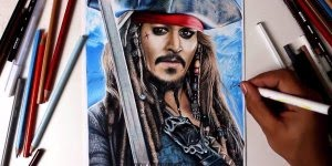 Desenho do capitão Jack Sparrow, um trabalho impressionante!