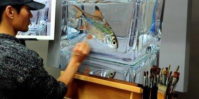 Desenho em aquário realiscos simplesmente impressionante, olha só que arte!!!