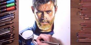 Desenho fabuloso de Thor, olha só que incrível os detalhes do rosto!!!