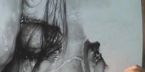 Desenho fantástico de rosto molhado, olha só que a riqueza de detalhes!!!