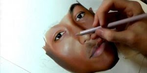 Desenho feito com lápis de cor de Pharrell Williams, perfeito!!!
