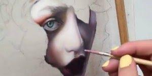 Desenho maravilhoso de rosto de mulher com lindas flores, vale a pena conferir!