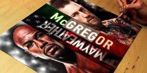 Desenho representando a luta do século, Floyd Mayweather x Conor McGregor!