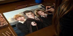 Harry Potter e seu amigo Ron Weasley e Hermione Granger, linda arte!!!