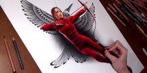 Jennifer Lawrence sendo desenhada, simplesmente magnifico desenho!!!
