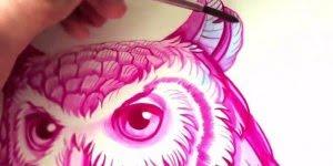 Linda obra de arte feita apenas na cor rosa e azul, com resultado lindíssimo!!!