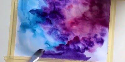 Técnica de pintar com tinta e água, olha só que perfeição este desenho!!!