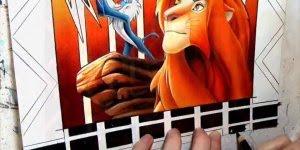 Vídeo de 15 segundos com desenho incrível do filme O Rei Leão!!!