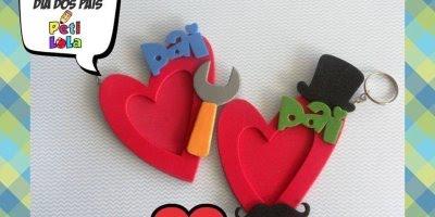 Artesanato de chaveiro de EVA para os dia dos pais, olha só que lindo!!!