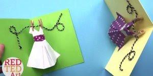 Cartão para o dia das mães, com varal e vestido pendurado!