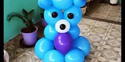 Como fazer um ursinho com bexigas de festa, perfeito para aniversário infantil!