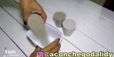 Como fazer vasinhos de cimento para decorar sua casa colocando suas flores!
