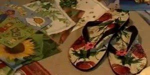 Decoupage em chinelos, o resultado é lindo e você pode até fazer para vender!