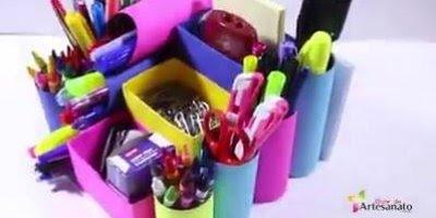 Organizador de material escolar, feito de caixinha de leite, rolinho de papel!!!
