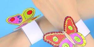 Pulseira de papel com borboleta, as meninas vão amar essa ideia!