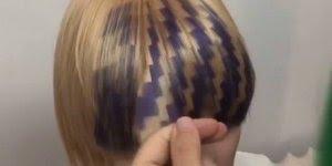Cabelos com desenhos geométricos pintados, se essa moda pega...