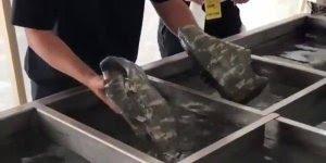 Como é tingido um tênis com cor camuflagem, que técnica legal!